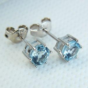 Jewelry - Sterling Silver Genuine Blue Topaz Stud Earrings